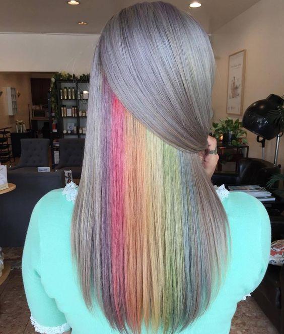 رنگ مو فانتزی رنگین کمان مخفی-خانومی